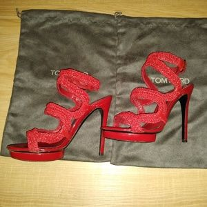 Tom Ford red leather sandals